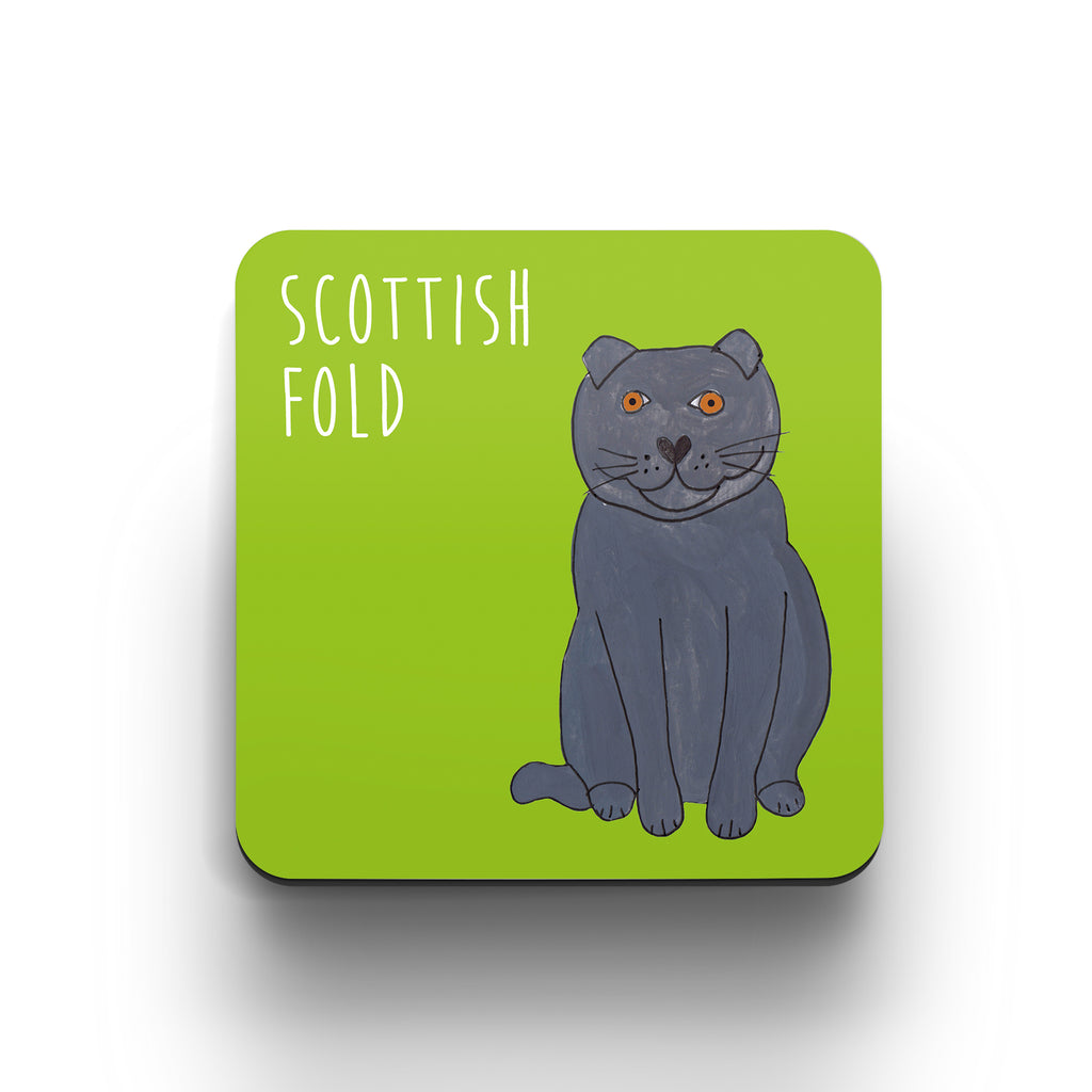 Illustrated Scottish Fold cat cute cat coaster
