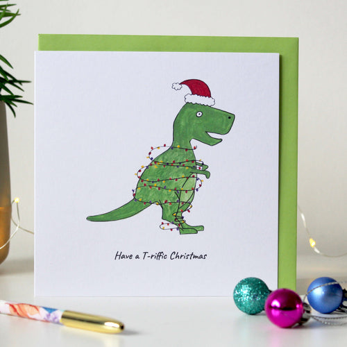 Sale - Funny T-rex Christmas card - 'Have a T-Riffic Christmas'
