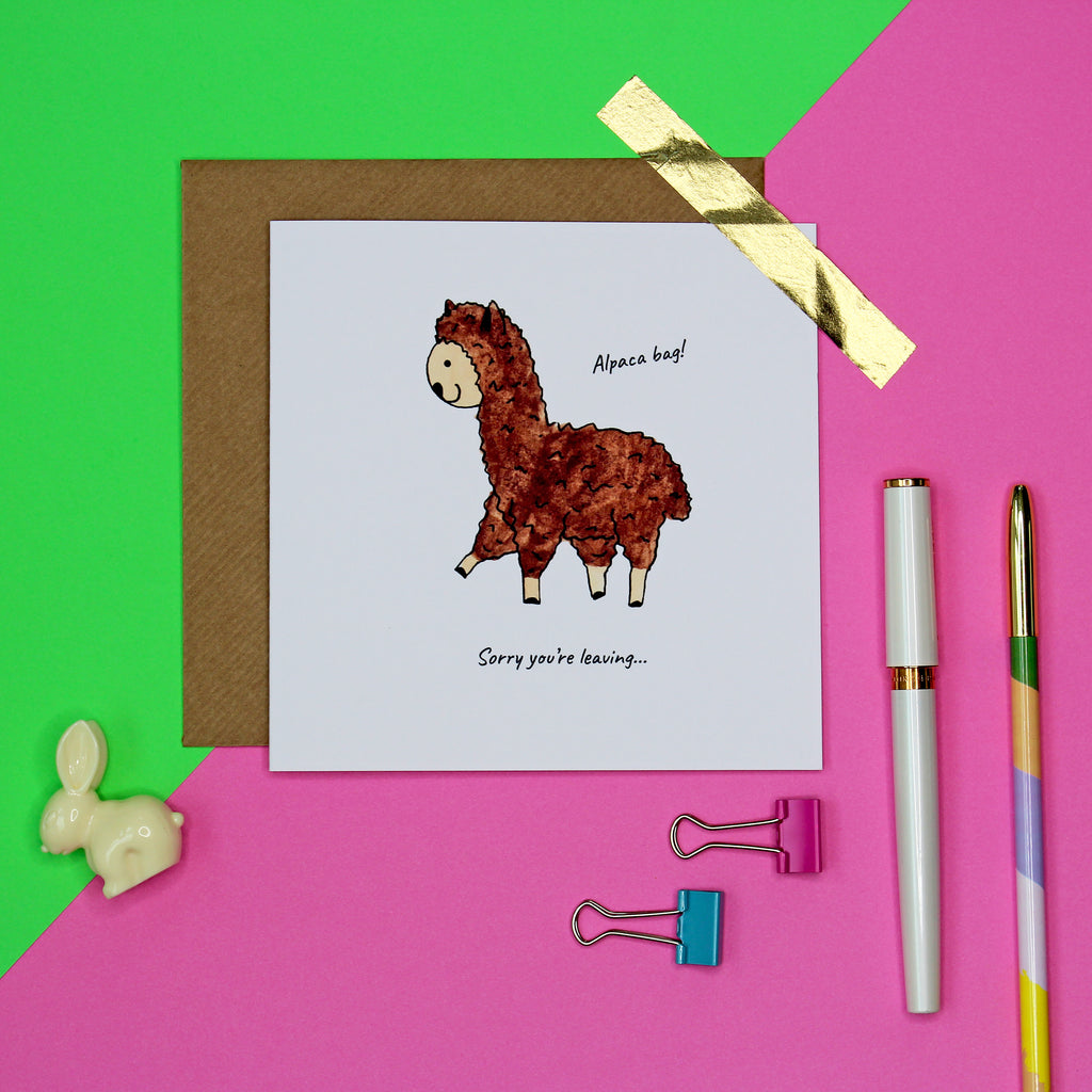 Alpaca bag funny leaving card