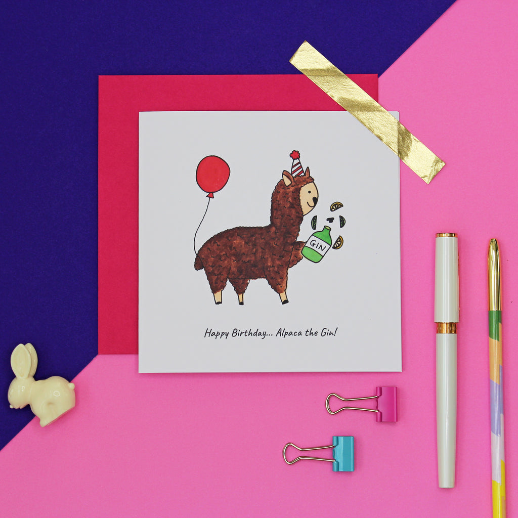 Alpaca the gin funny Birthday card