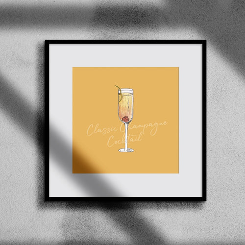 Classic Champagne cocktail illustration square print