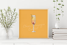 Load image into Gallery viewer, Classic Champagne cocktail illustration square print