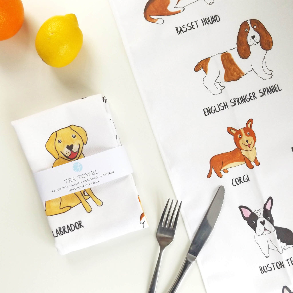 Illustrated Dog breed tea towel