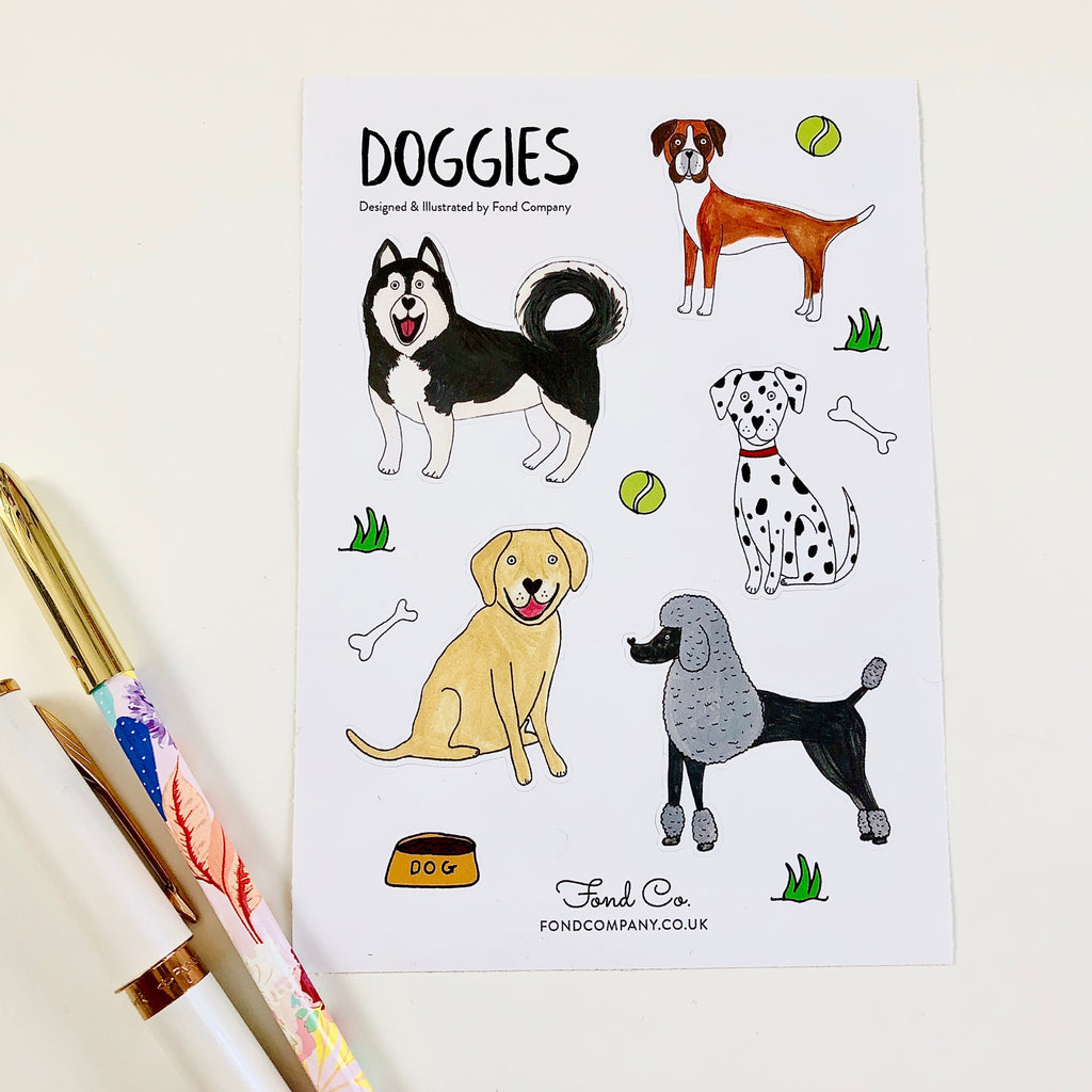 A6 illustrated dogs sticker sheet