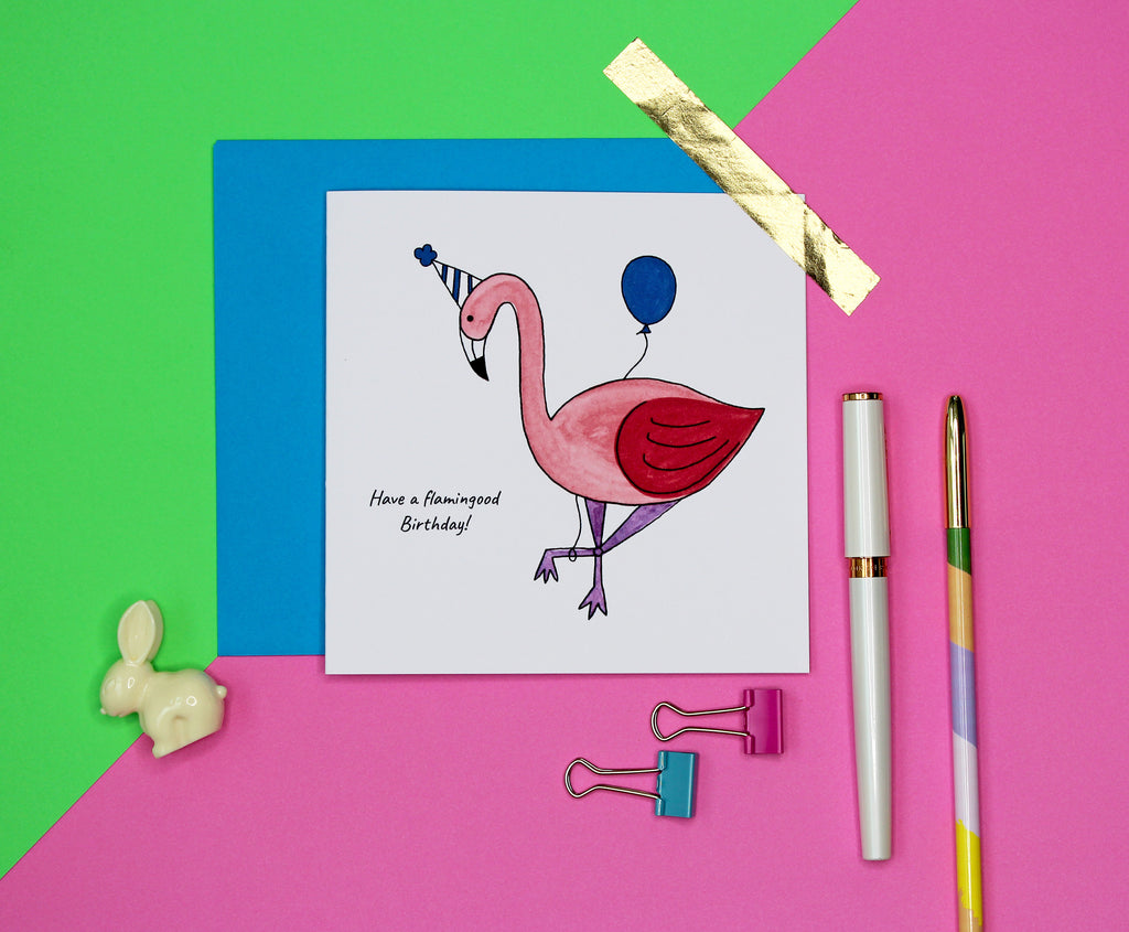 Have a flamingood Birthday, flamingo Birthday card