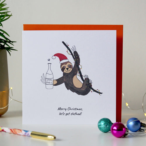 Sale - Funny Sloth Christmas card - 'Merry Christmas, Let's get slothed'