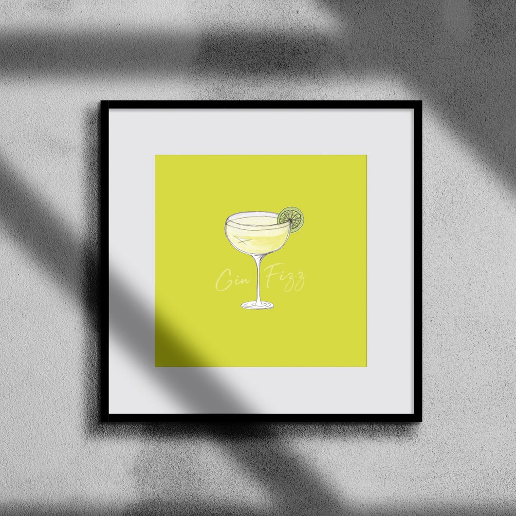 Gin Fizz cocktail illustration square cocktail print