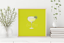 Load image into Gallery viewer, Gin Fizz cocktail illustration square cocktail print
