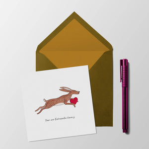 You are extraordin-hare-y valentines / anniversary card
