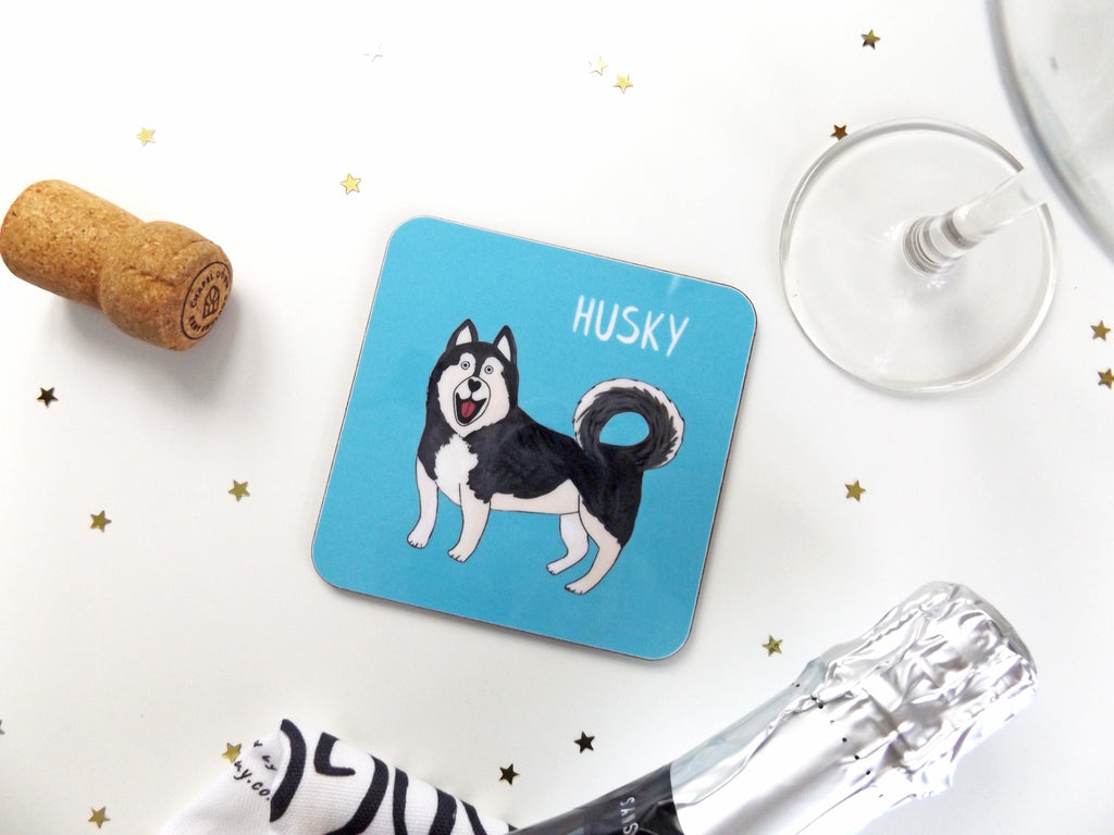 Illustrated Husky drinks coaster