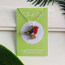 Load image into Gallery viewer, Handmade wooden Robin necklace