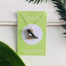 Load image into Gallery viewer, Handmade wooden Magpie necklace