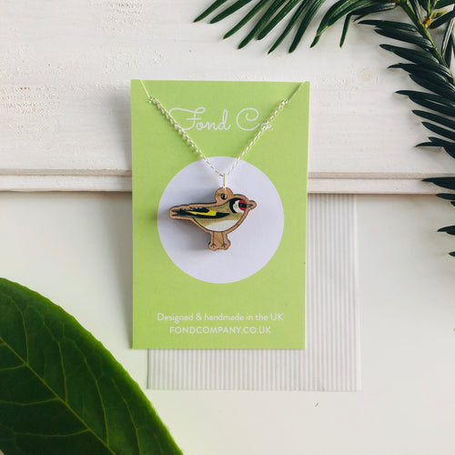 Handmade wooden Goldfinch necklace