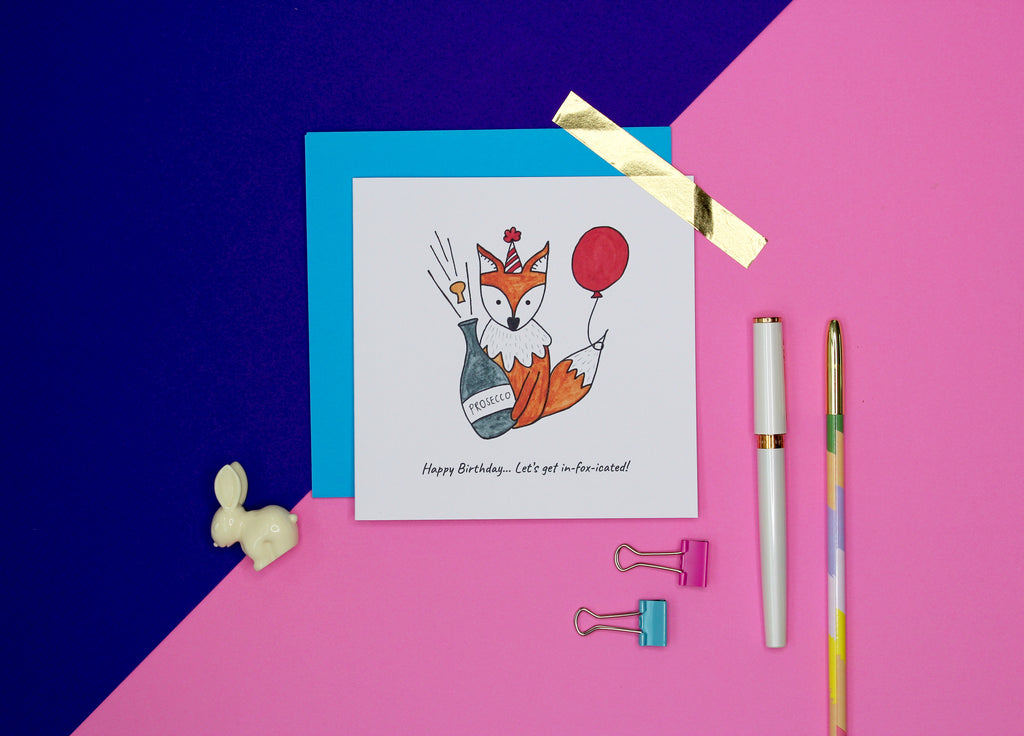 Let's get in-foxicated funny fox Birthday card