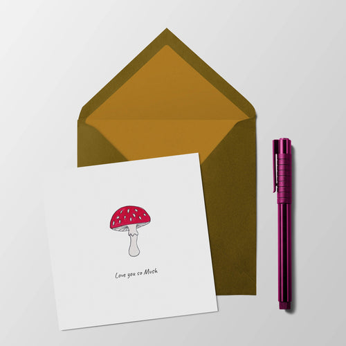 Love you so mush - mushroom anniversary or valentines card