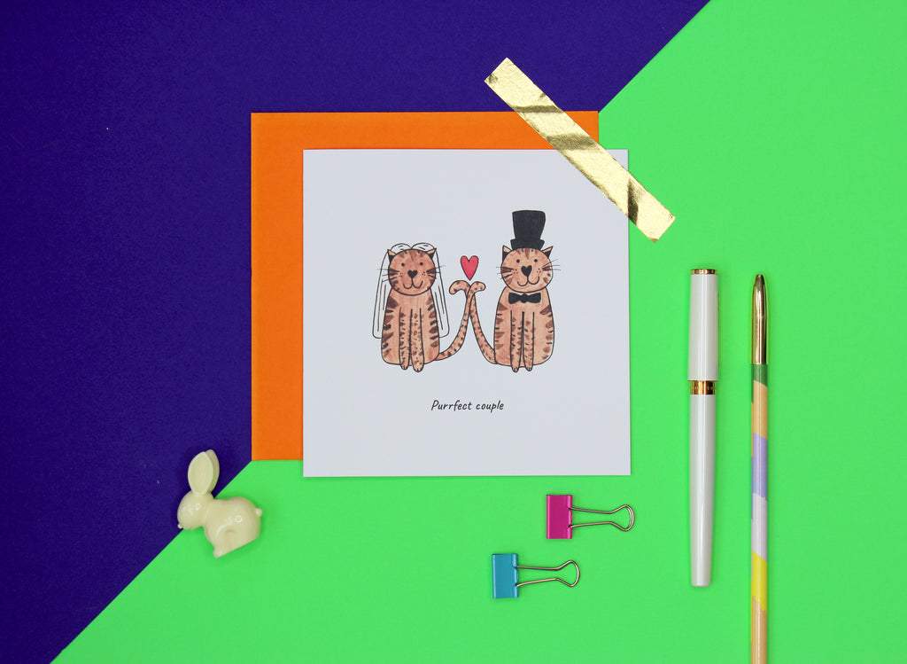 Purrfect couple tabby cat wedding card