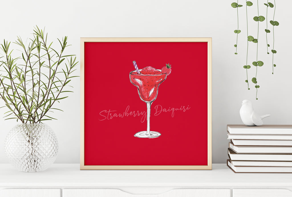 Frozen strawberry daiquiri cocktail illustration square print