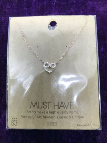 "17"" Gold Plated Cubic Zirconia Infinity Heart"