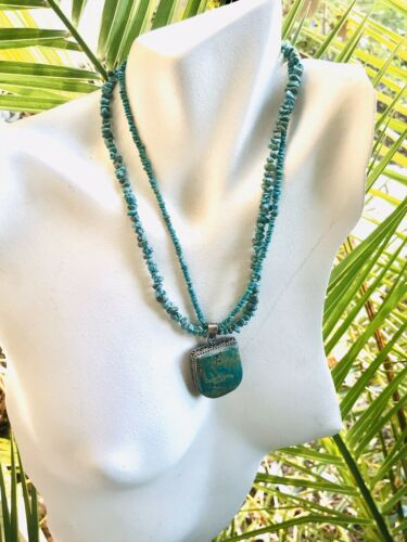 Vintage Artisan Green Blue Turquoise + Sterling Silver Necklace