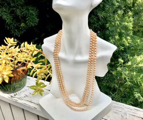 Nolan Miller Glamour Collection 3 Strand Art Deco Pearl & Blue Stone Necklace