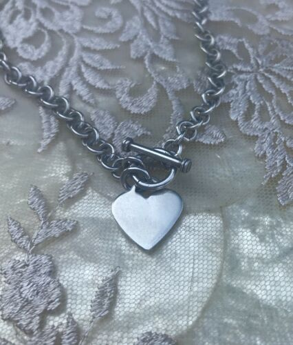 Vintage Sterling Silver 925 Heart Chain Taggle Necklace