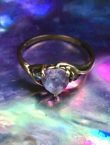 10k Gold Rose Quartz Heart Ring Size 6