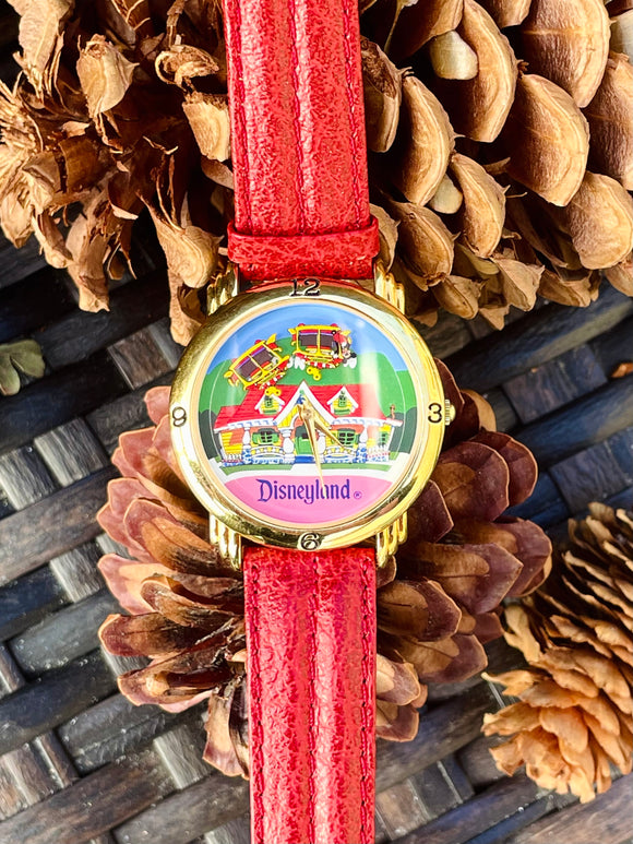 Disney All Aboard Mickey's Disneyland Toontown Colorful Red Leather Wrist Watch