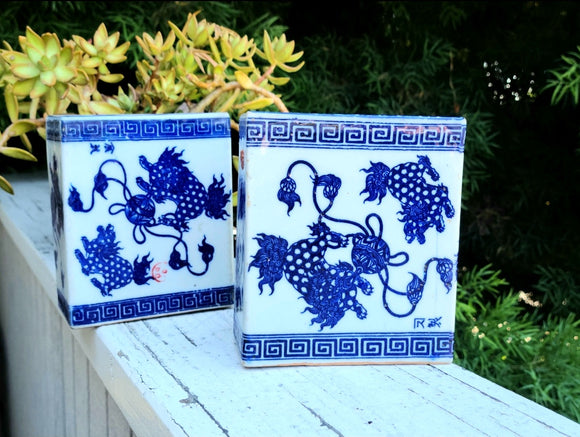 Antique Qing Dynasty Signed Chinese Blue & White Porcelain Pillow Brick Vase Set