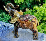 Unique Artisan Hand Painted Bejweled Elephant Figurine