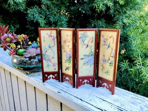 Antique Japanese Four Panel Signed Hand Painted Wood Carved Folding Screen