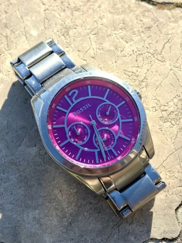 Fossil Stainless Steel Pink Face Day Month Week Watch BQ3017