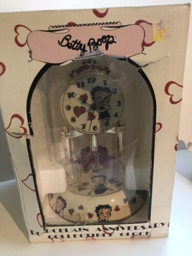Betty Boop Porcelain Anniversary Collectible Clock In Original Box