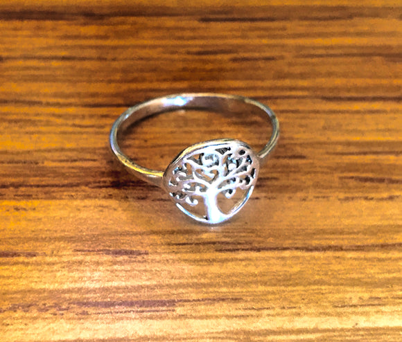 Vintage Sterling Silver 925 Signed Tree of Life Ring Size 8