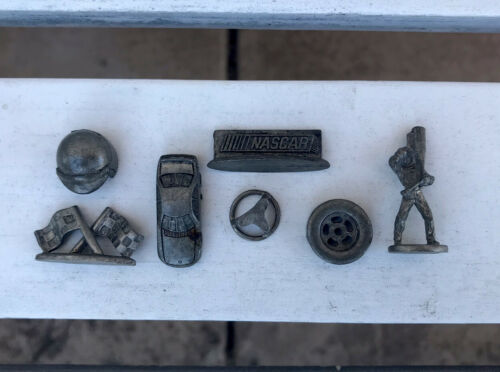 Vintage Pewter Metal Cast Nascar Car Racing Collection Collectible Set of 7