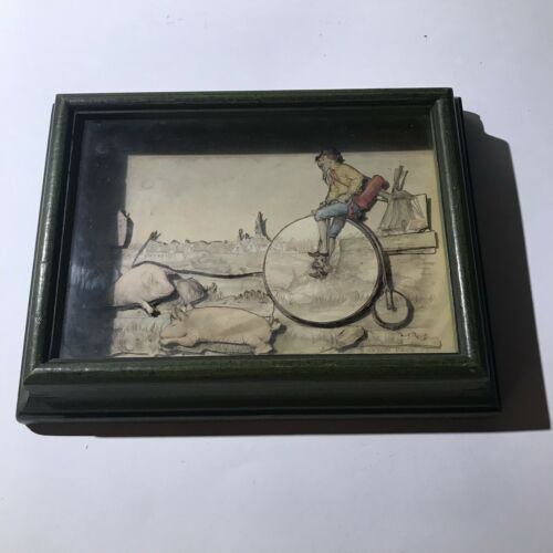 1966 Vintage Anton Pieck 3D Paper Card Shadow Box Folk Art Penny Farthing, Pigs