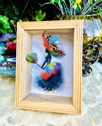 "Original Arte Plumaria Mexico ""Gaillard"" Feather Art Woman In Shadow Box"