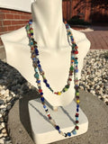 Beautiful Multi Color Rainbow Glass Art Beaded Extra Long Layerable Necklace