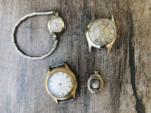 Vintage Gold Filled Swiss 17 Jewel Automatic Watch Lot of 4 As Is / Parts