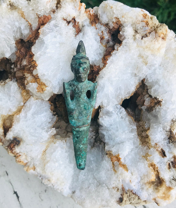 Antique Verdigris Bronze Metal Spiritual Temple Devotee Artifact Relic Figure