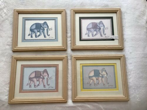 Royal Thai Elephant Signed Jim Johnson Framed Matted Art Set Of 4 Pictures