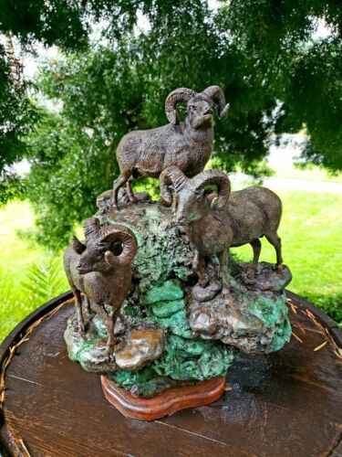 Bronze Rams Sculpture by James P. Regimbal (b.1949) three of a kind 4/50