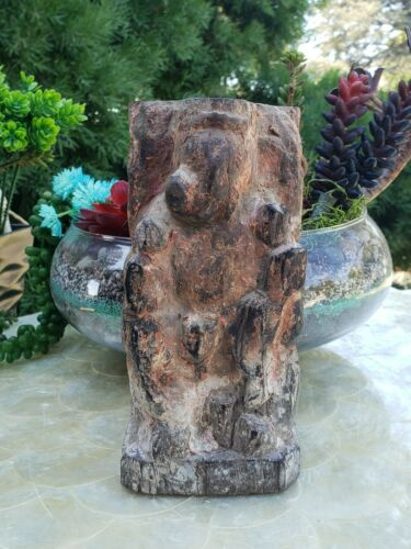Original Antique Artifact Tribal Elephant Hindu Ganesh Carver Wood Statue Figure