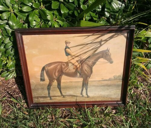 Antique Horse Jockey fervacoes Horseback riding Equestrian Artwork framed Art Picture