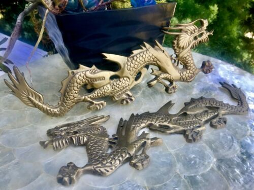 Vintage Antique Brass Dragon Art Plaques Set of 2