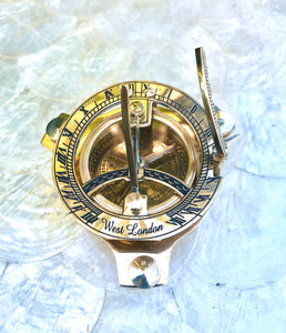 Vintage West London Brass Marine Sundial Compass Nautical