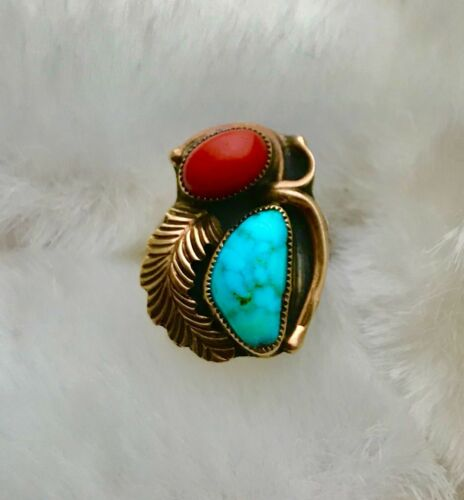 "Vintage Navajo 10K Gold & Sterling Silver W/Turquoise And Coral ""KM"" Ring Size 7"
