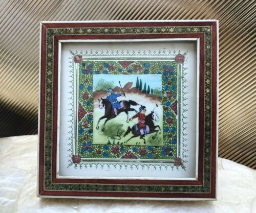 Persian Khatan Marquetry Inland Wood Frame Artwork Depicting Hunters