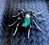 Sterling Silver Malachite Green Stone Spider Signed Esther Spencer Navajo