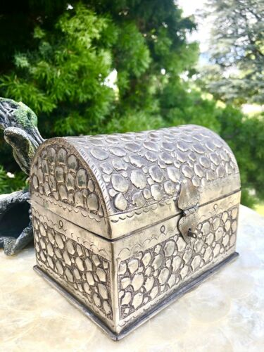 Antique Signed Silver Tone Repousse Embossed Metal Jewelry Box Treasure Chest