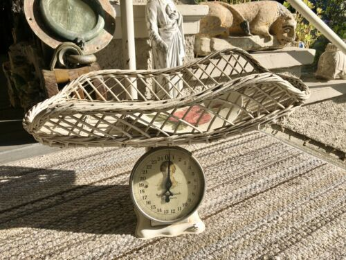 Vintage Nursery Baby Scale White Metal & Wicker Basket Up to 25 Pounds by Ounces
